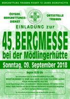 Einladung zur 45.Bergmesse am 09.09.2018